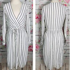Ann Taylor long sleeve vertical stripe midi dress